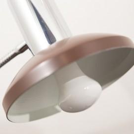Lampe de bureau italienne chrome et marron