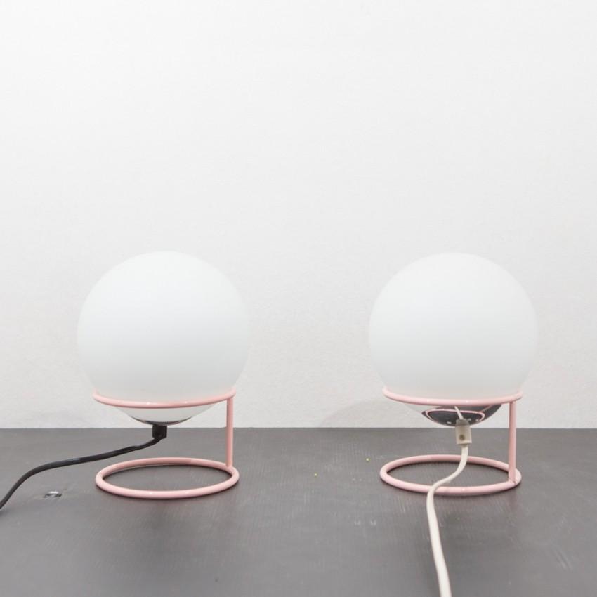 Paire de lampes de chevet sphériques