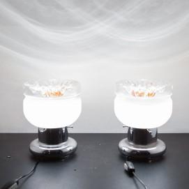 Paire de lampes - Verrerie teinté