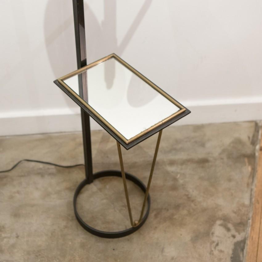 Lampadaire deux opalines métal et laiton