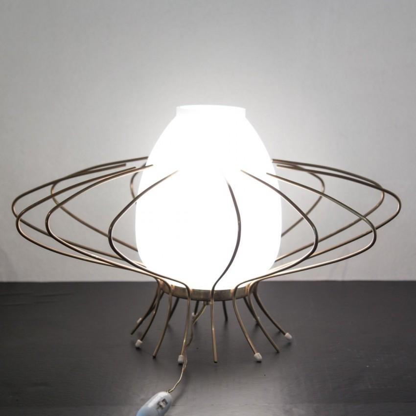 lampe poser fil de fer et opaline. Black Bedroom Furniture Sets. Home Design Ideas