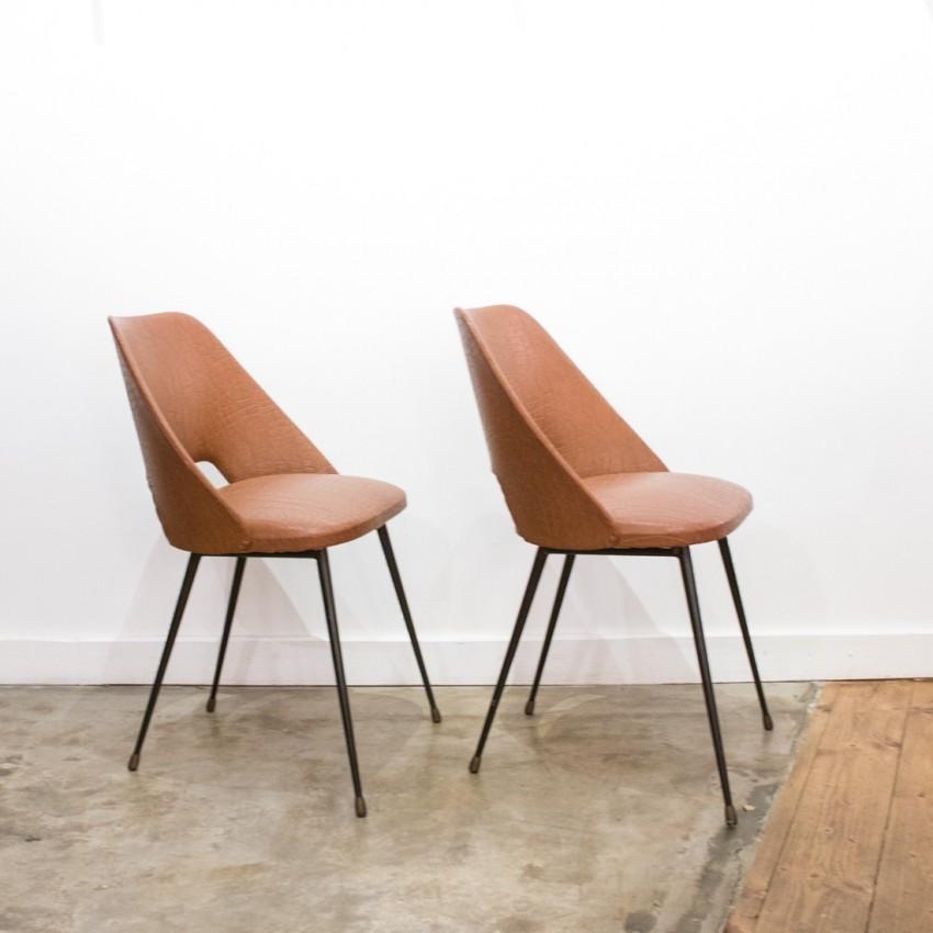 paire de chaises tonneau en ska. Black Bedroom Furniture Sets. Home Design Ideas