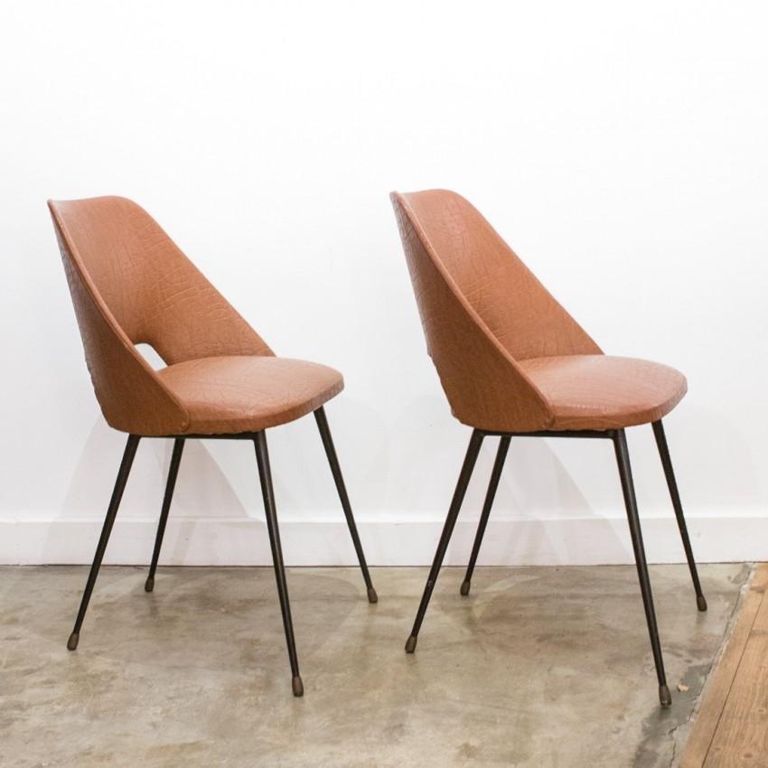 Paire de chaises tonneau
