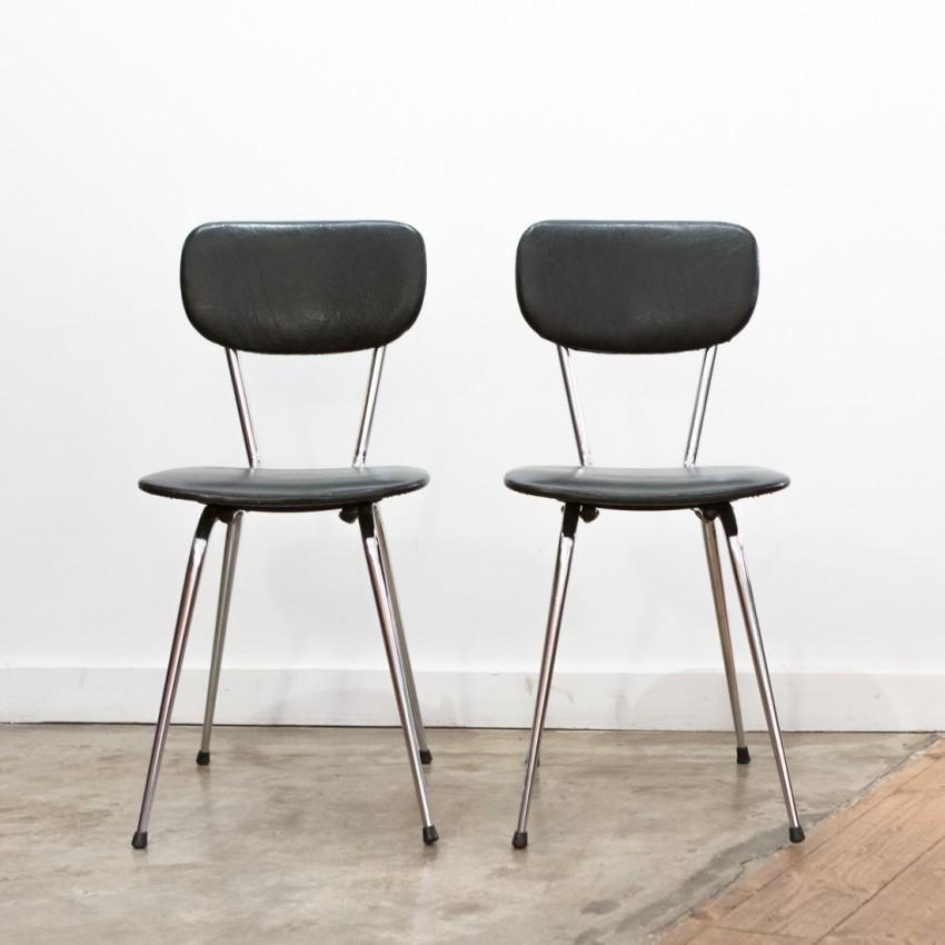 Paire de chaises chrome/Skaï