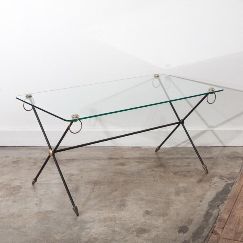 Table basse verre et laiton