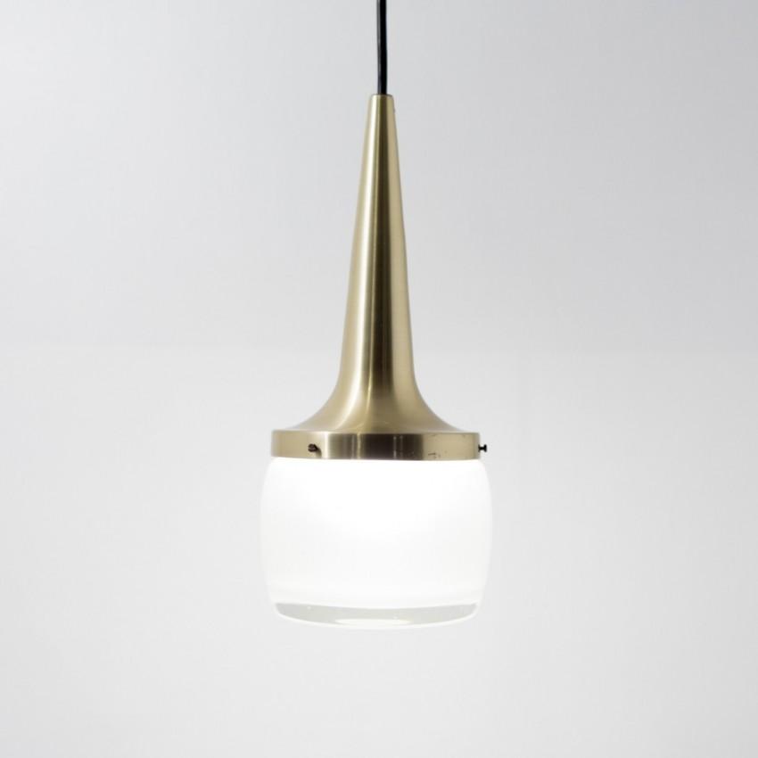 Suspension aluminium doré et verre Staff