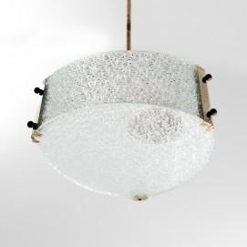 Suspension triangulaire laiton et verre - Delmas luminaires