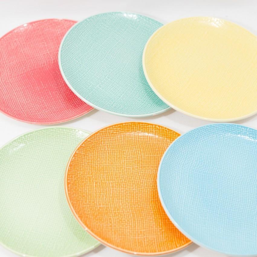 Six assiettes en porcelaine de Salins - Miramar