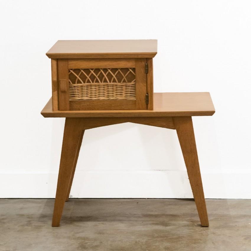 Chevet en bois et en rotin - Table de chevet en rotin ...