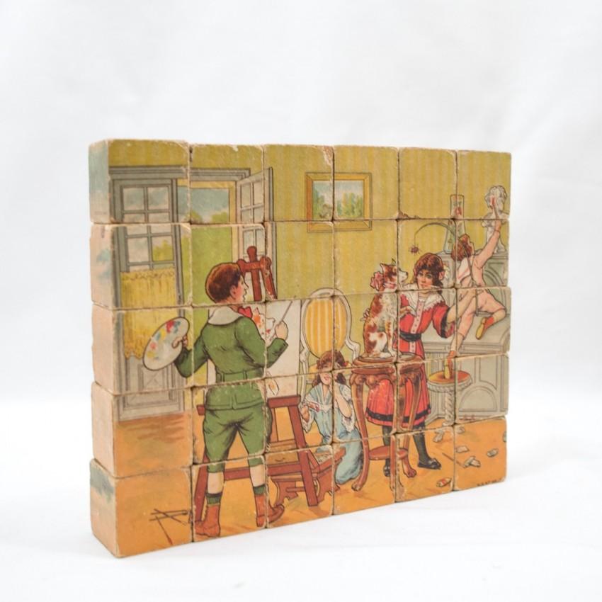 Boite cubes bois N. K. Atlas Paris Atelier