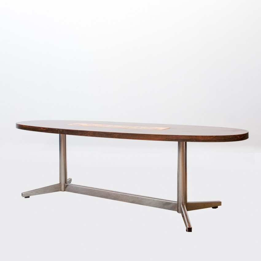 Grande table basse ovale palissandre et c ramique - Table basse ceramique design ...