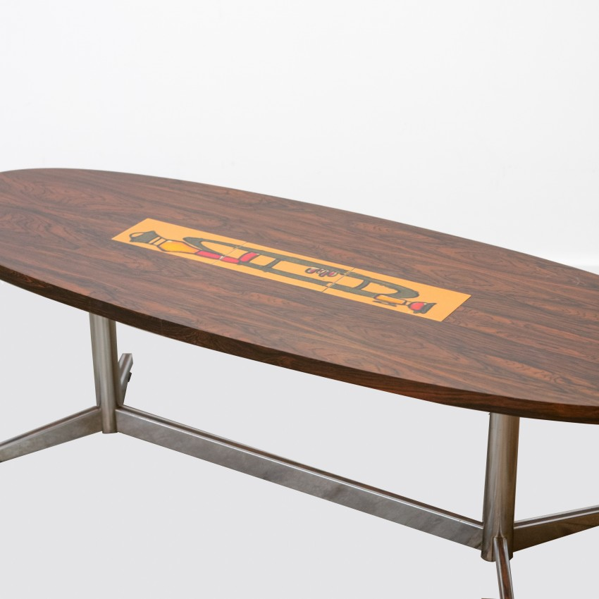 grande table basse ovale - palissandre et céramique