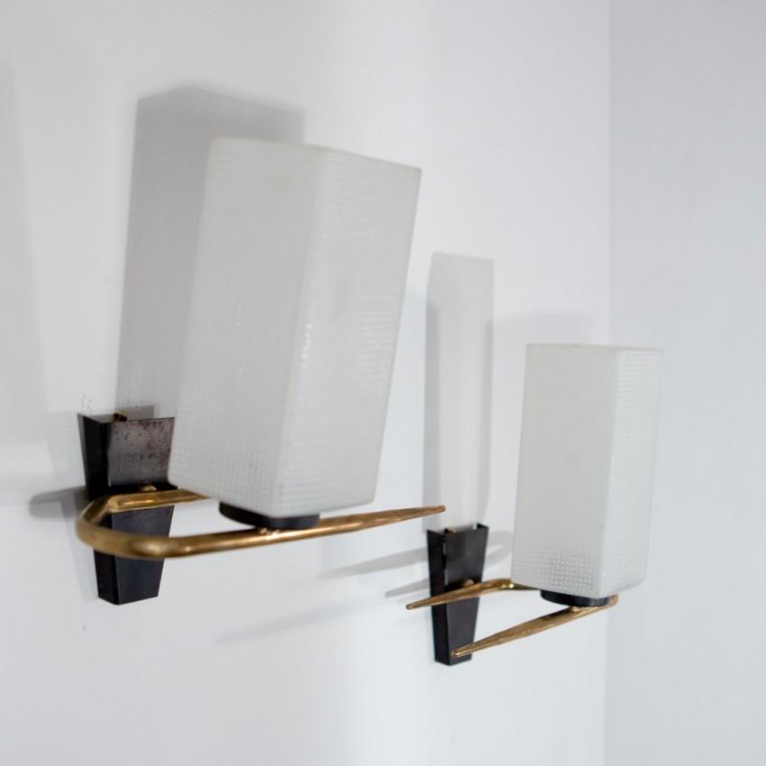 appliques laiton et verre delmas. Black Bedroom Furniture Sets. Home Design Ideas