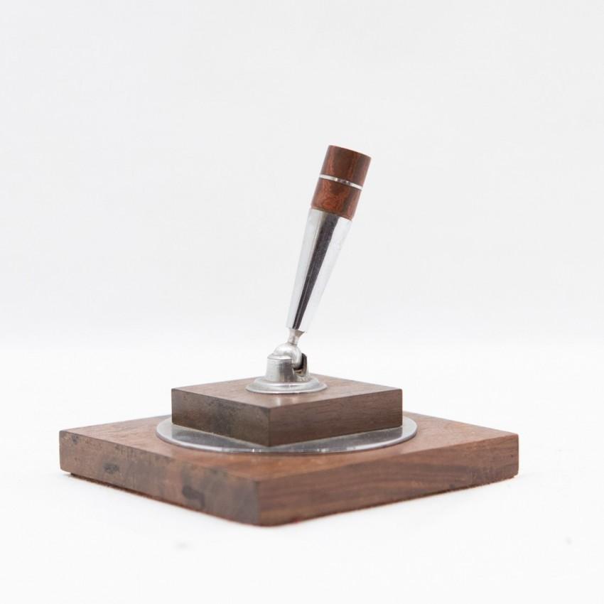 Porte-stylographe en bois et chrome