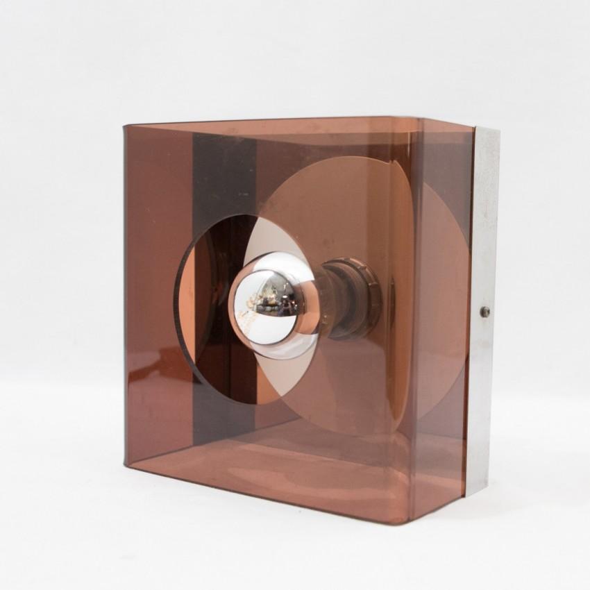 Applique ou lampe à poser en plexiglas fumé et chrome