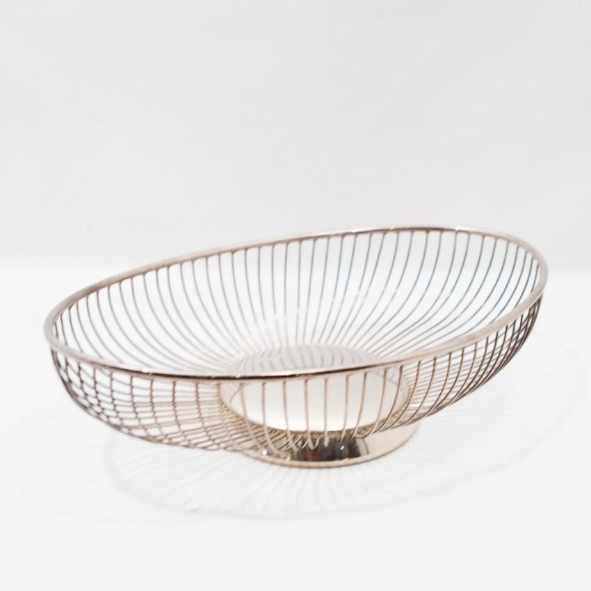 Corbeille en métal argenté