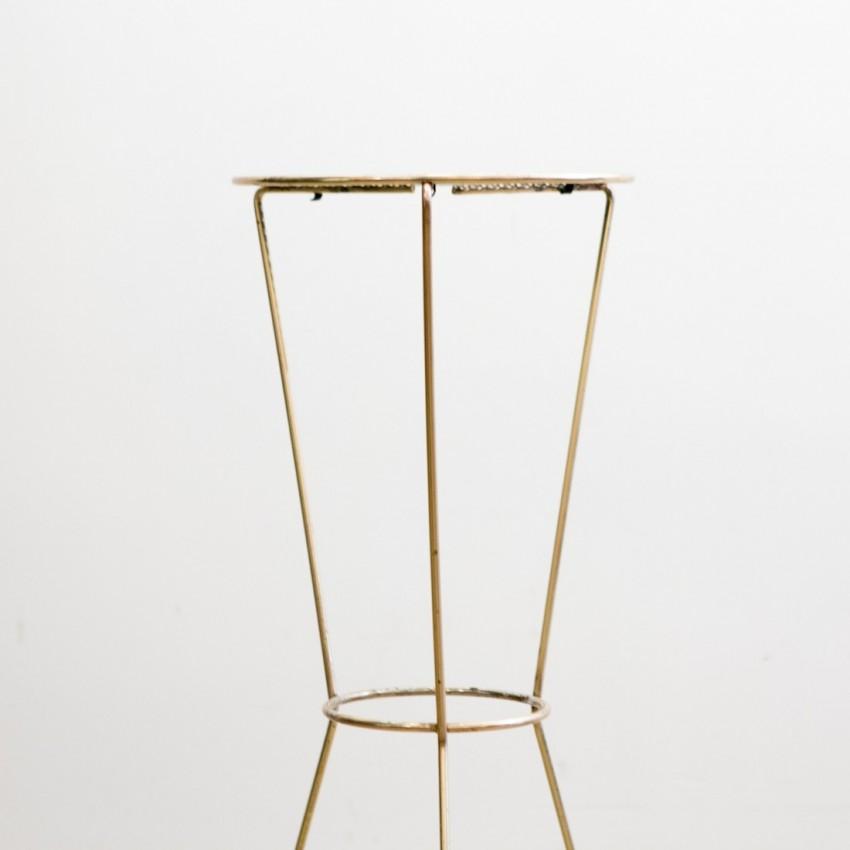 Sellette tripode - Métal doré et tôle perforée - Années 1950, 1960