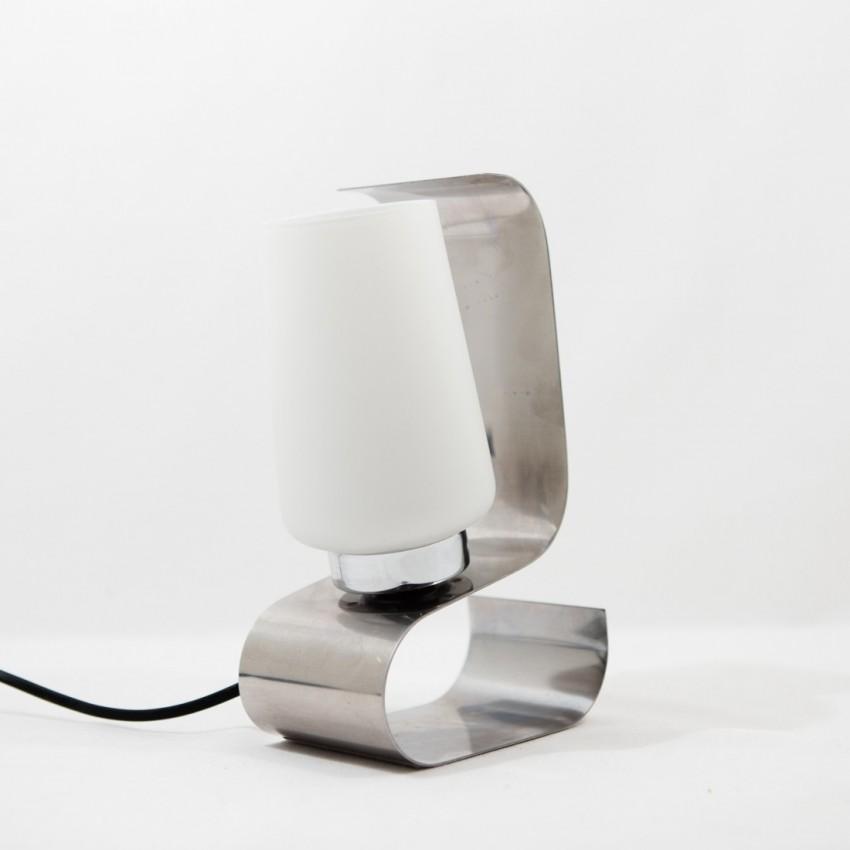 Lampe de chevet en inox plié
