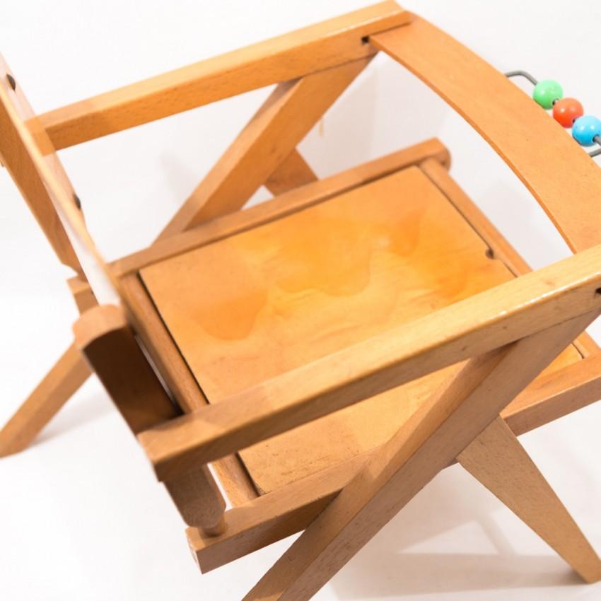 Chaise enfant en bois vintage