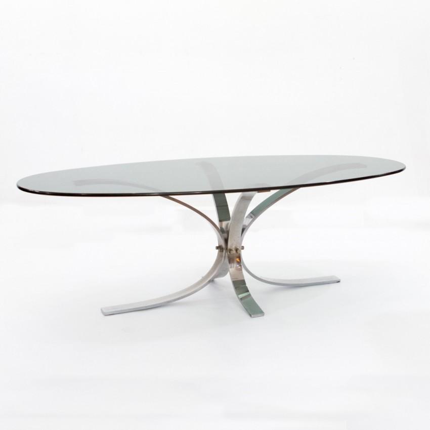 Table basse ovale - Table basse de salon en verre ovale ...