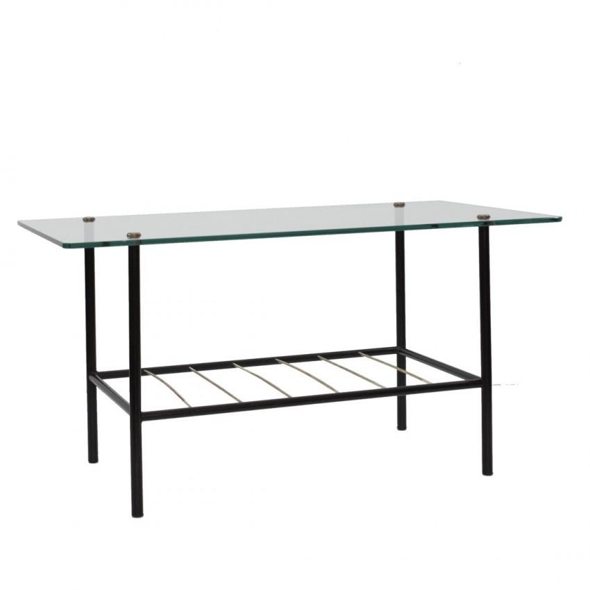 table basse rectangulaire en m tal verre et fils de laiton. Black Bedroom Furniture Sets. Home Design Ideas