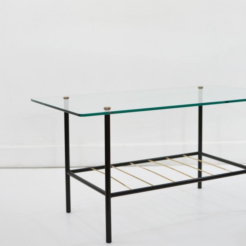 Table Basse Rectangulaire En M Tal Verre Et Fils De Laiton