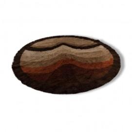 Grand tapis en laine rond des années 1960
