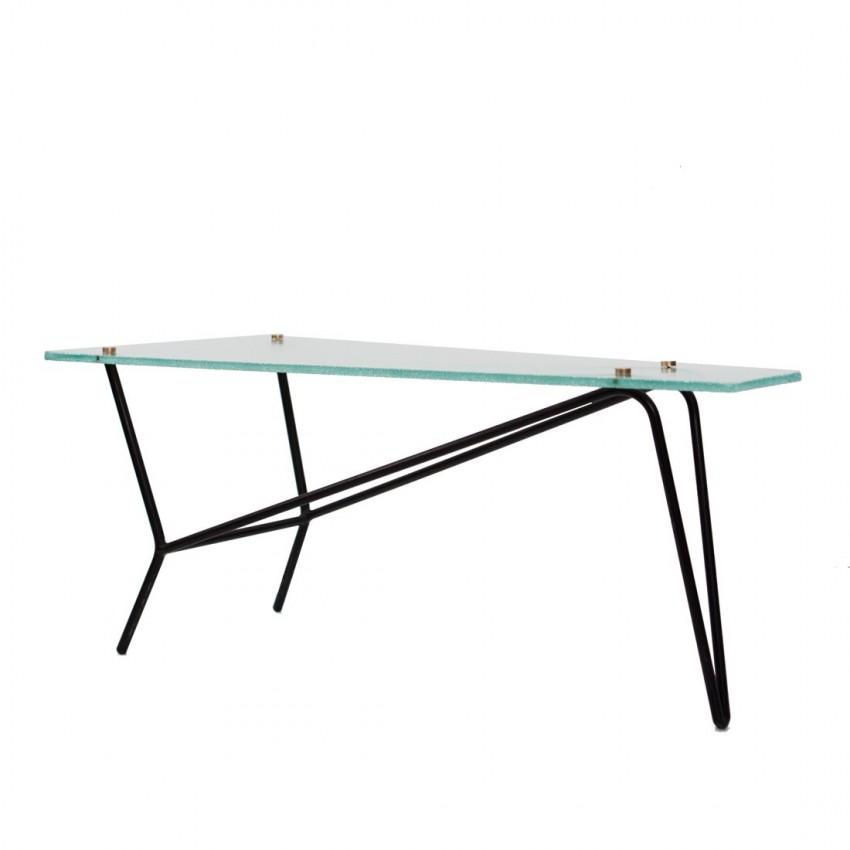 Table basse en verre et m tal robert mathieu for Table verre et metal