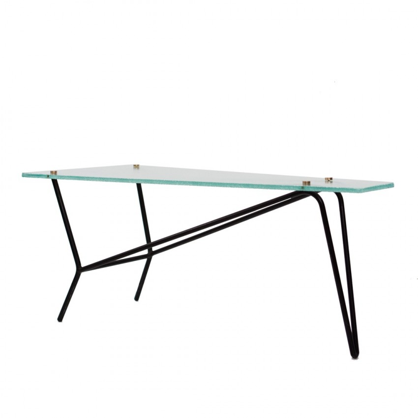 Table basse en verre et m tal robert mathieu - Table basse verre et metal ...