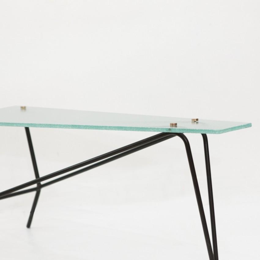 table basse en verre et m tal robert mathieu. Black Bedroom Furniture Sets. Home Design Ideas