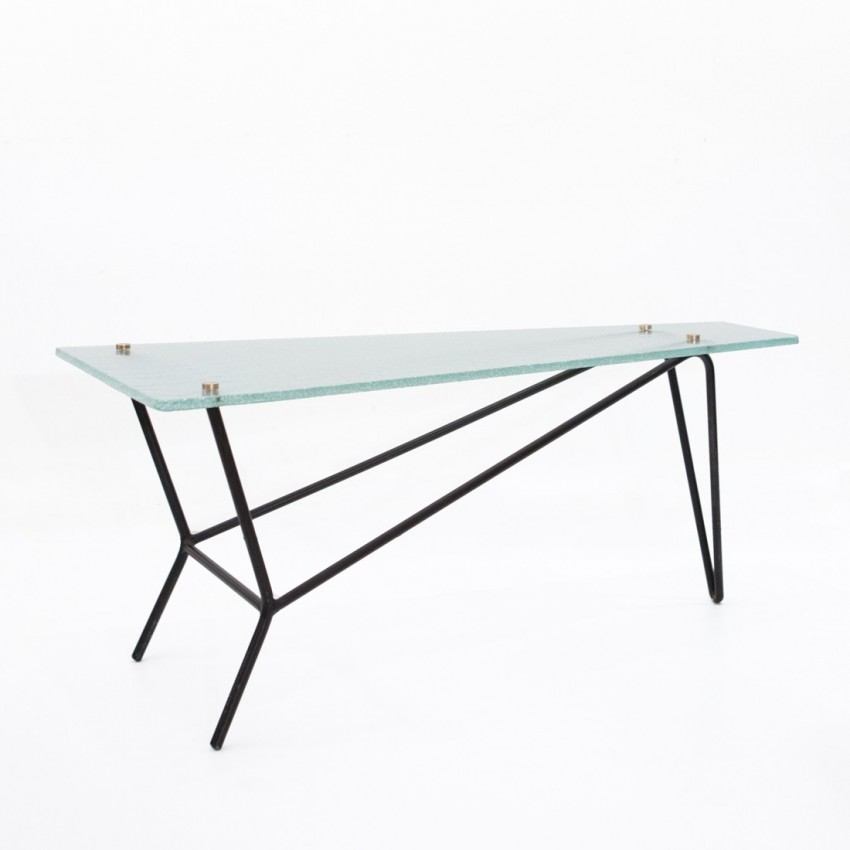 Table basse en verre et m tal robert mathieu for Table basse verre metal
