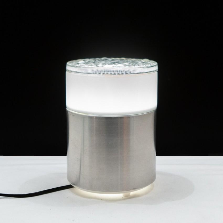 Luminaire cylindrique en inox et verre - Staff