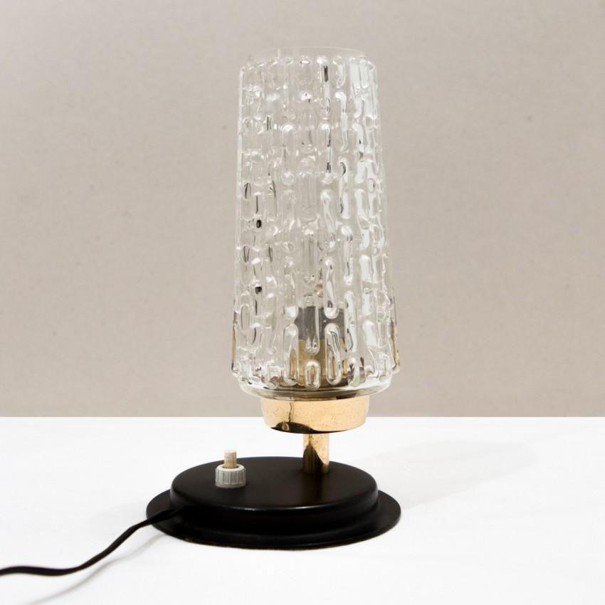 lampe d 39 appoint en m tal laiton et diffuseur en verre des ann es 1950. Black Bedroom Furniture Sets. Home Design Ideas