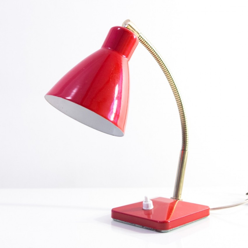Lampe de bureau ou applique aluminor rouge for Applique lampe de chevet