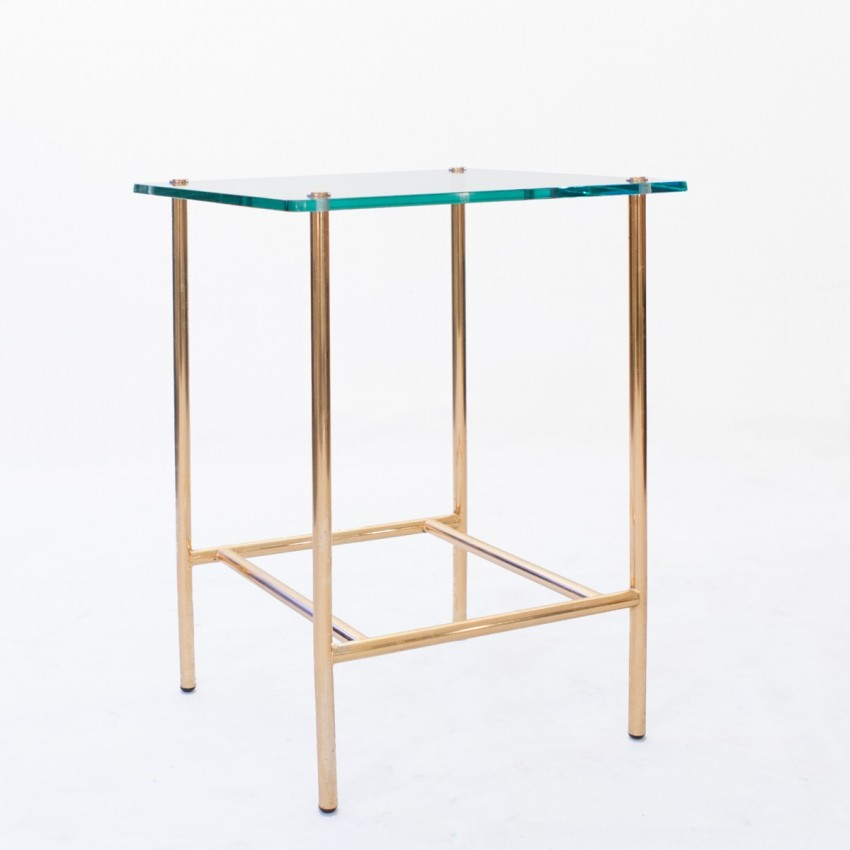 Table d 39 appoint en laiton et verre for Table en verre but
