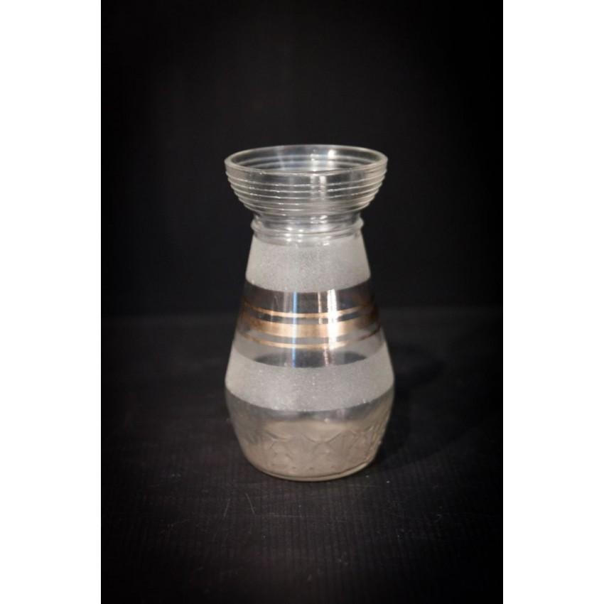 Vase verre liseré doré