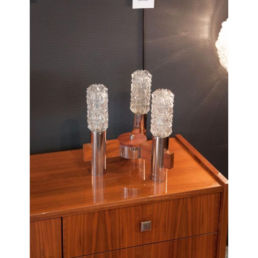 suspension ou lampe poser bois fer verre. Black Bedroom Furniture Sets. Home Design Ideas
