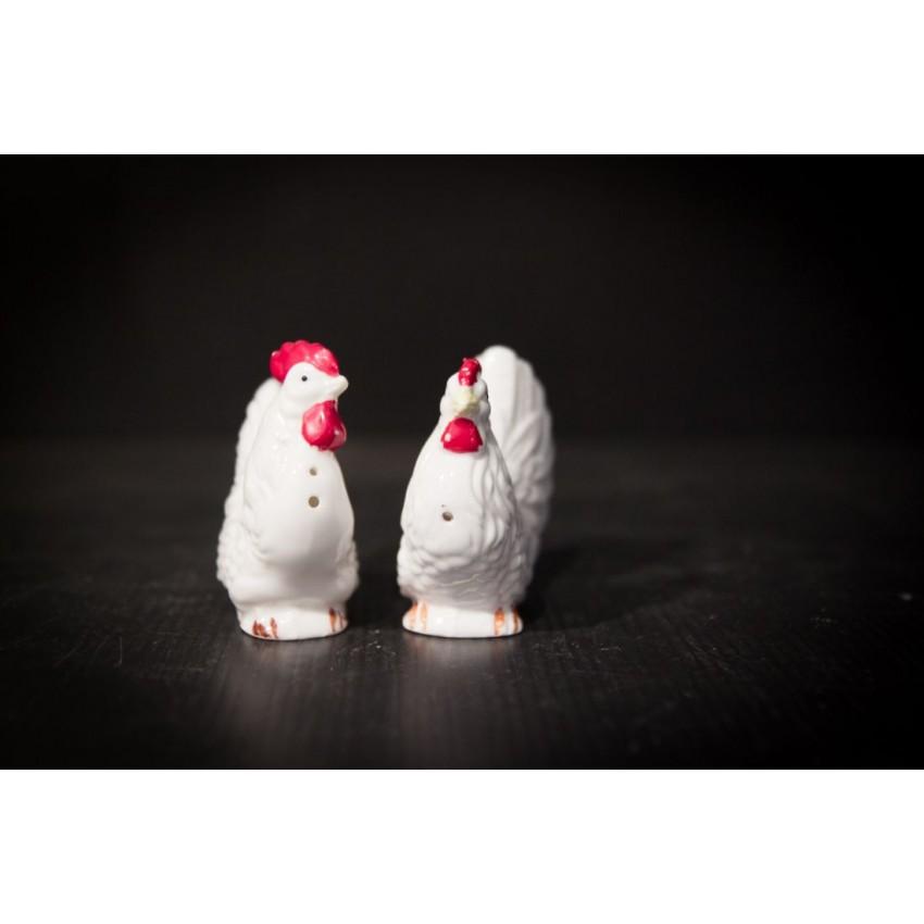Salière et poivrière poules