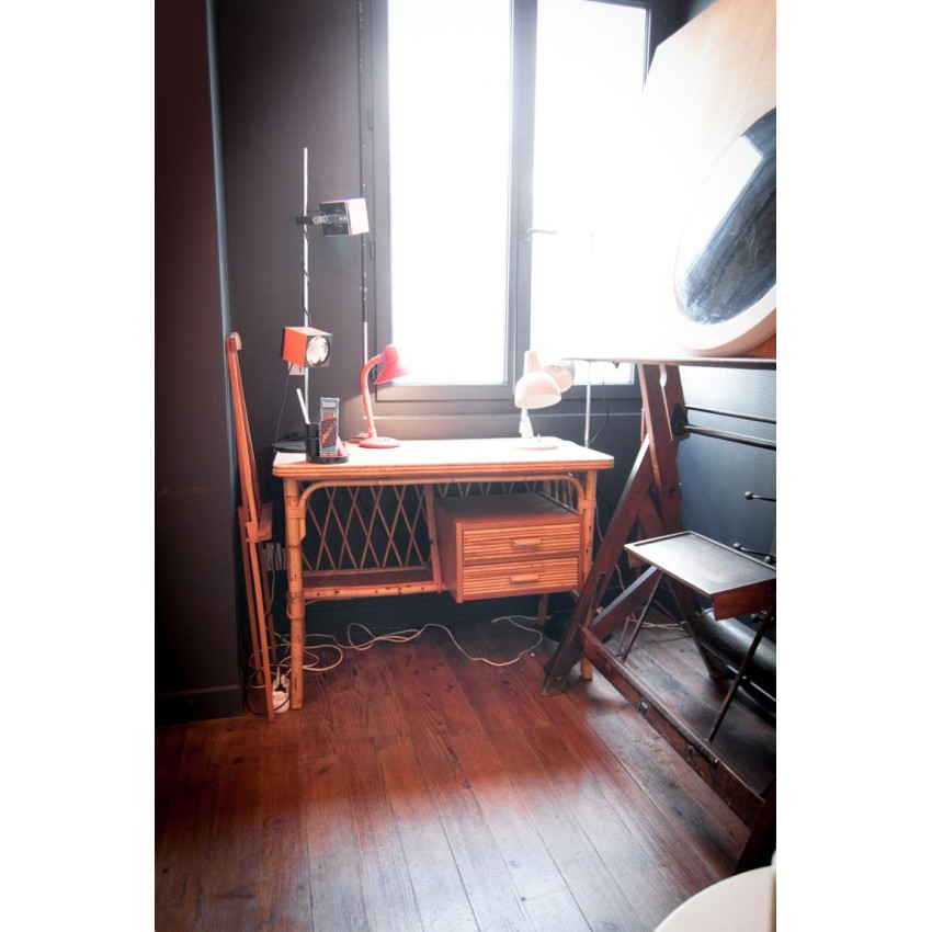 bureau en rotin louis sognot. Black Bedroom Furniture Sets. Home Design Ideas