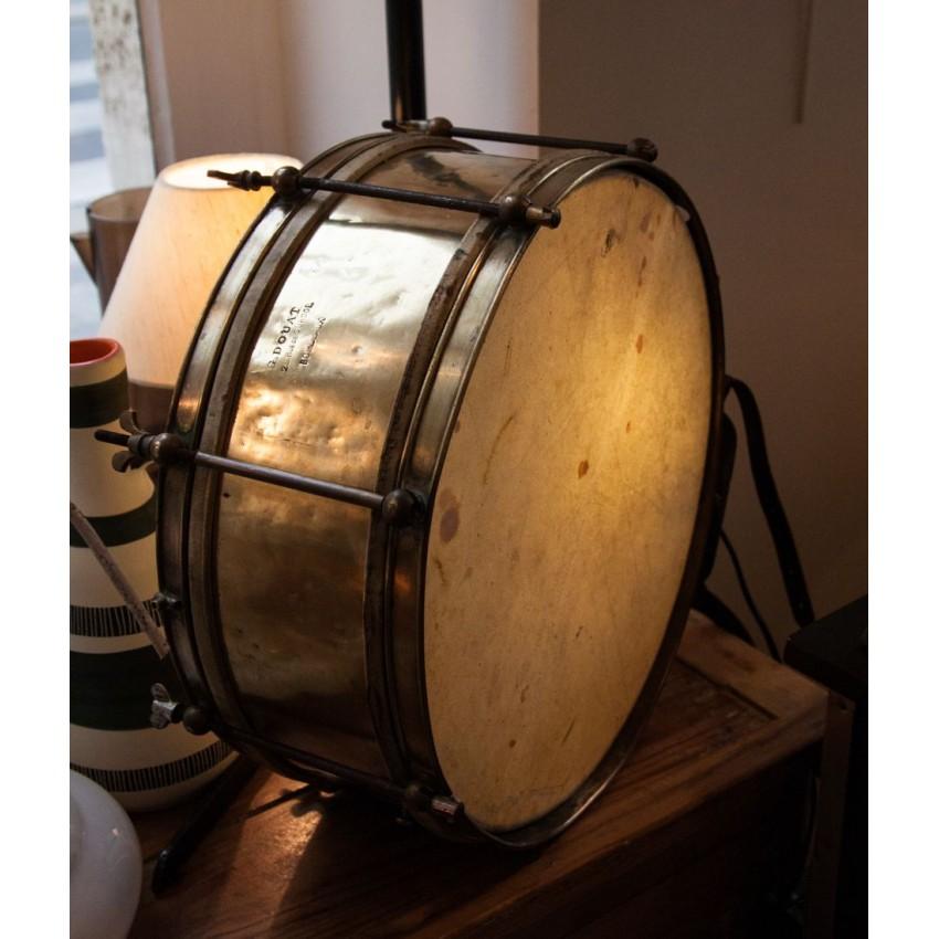 Ancienne caisse claire lumineuse en cuivre