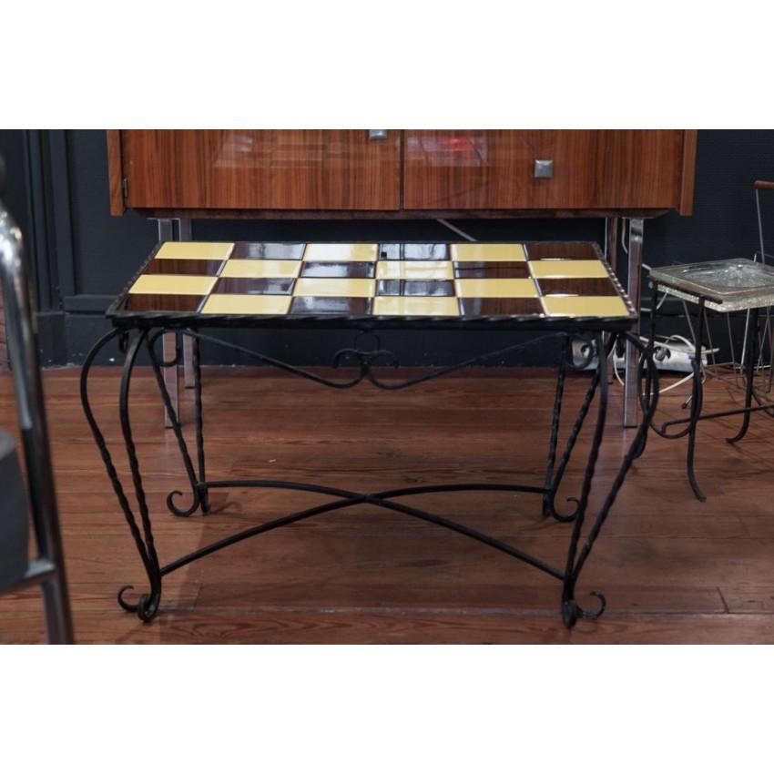 Table basse vintage fer/carreaux