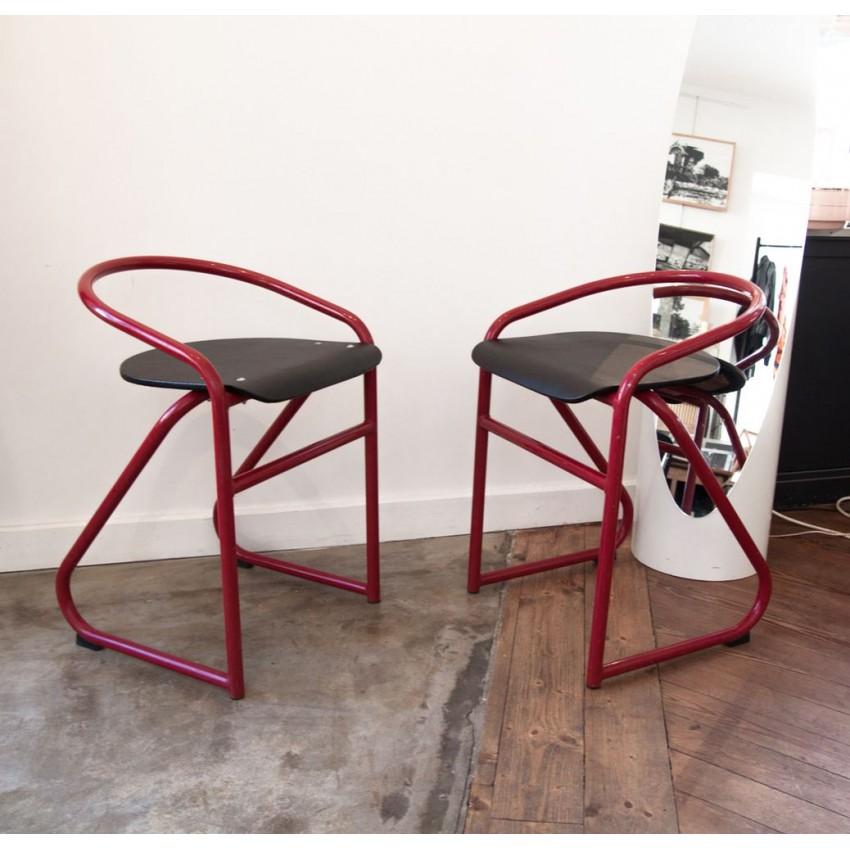 Chaises d'atelier en tube rouge