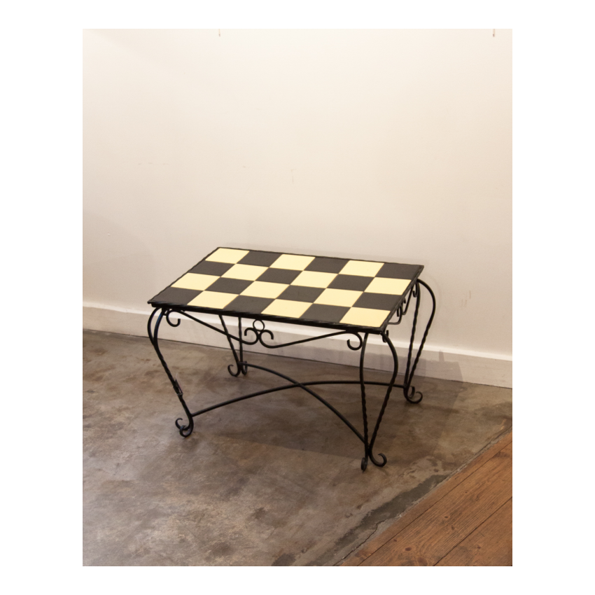 Table basse vintage fer/carreaux